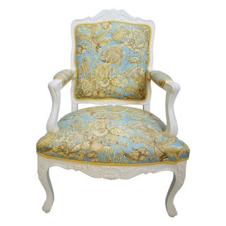 Vintage Italian Bergere White Carved Chair