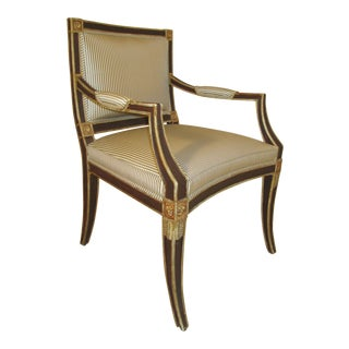 Neoclassical Armchair in Striped Silk