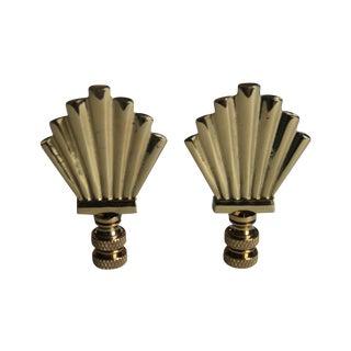 Brass Art-Deco Style Fan Finials - A Pair
