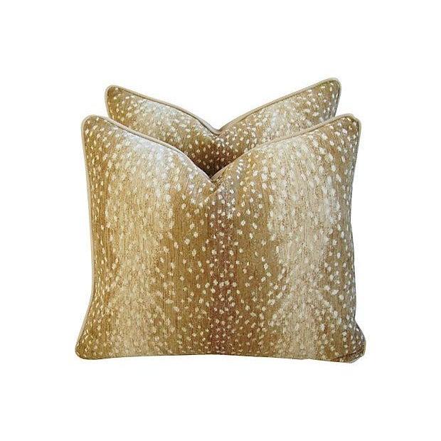 Antelope Fawn Spot Velvet Pillows- a Pair - Image 1 of 10