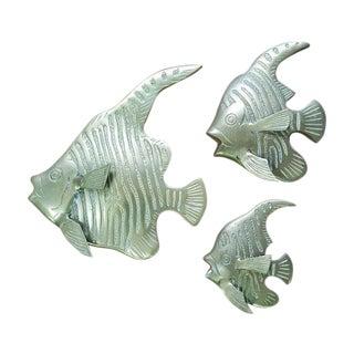 Brass Fish Wall Sculpture - Set of 3