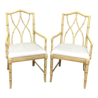 Thomasville Chinese Chippendale Faux Bamboo Armchairs - A Pair