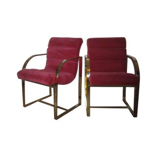 M. Baughman Cherry Velvet &  Brass Chairs- A Pair