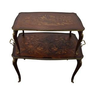 Antique Mahogany Inlaid 2 Tier Server Table