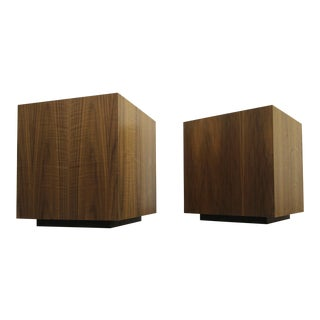Mid-Century Walnut Plinth Base Cube Side Tables Stools -- A Pair