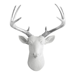 Wall Charmers White & Silver Antler Faux Deer Head