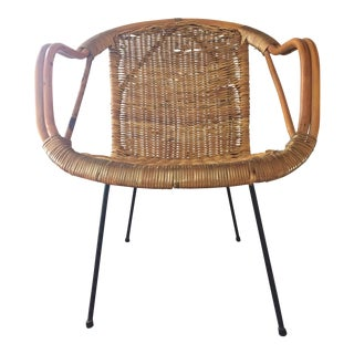 Vintage Arthur Umanoff Wicker & Iron Side Chair