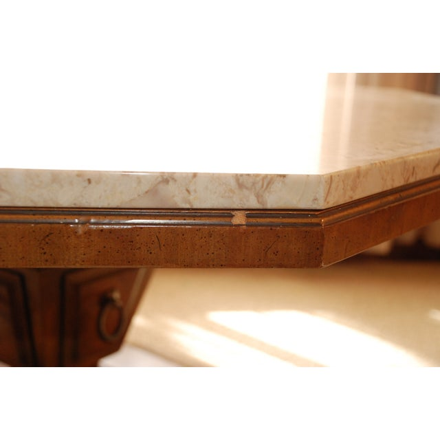 Distinctive Octogonal Marble-Top Cocktail Table - Image 4 of 6