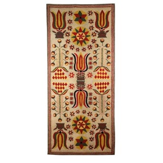 Hooked Rug with Tulips