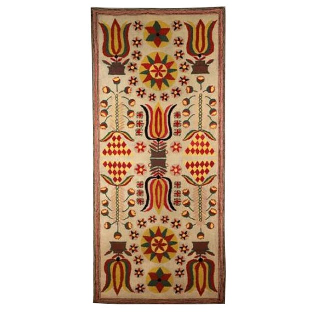 Image of Hooked Rug with Tulips