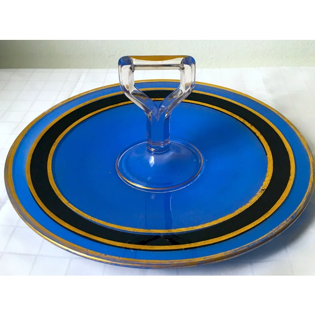 Image of Mid-Century Blue Glass Handled H'ordeuvres Server