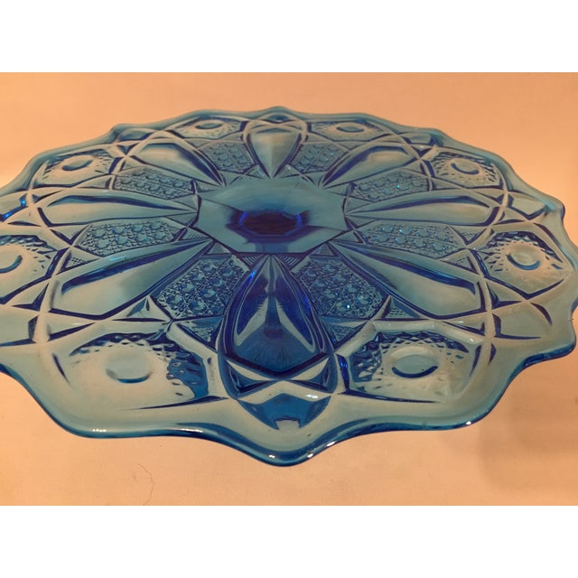 Blue Depression Style Glass Cake Stand - Image 4 of 6