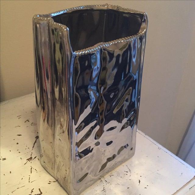 Image of Seletti Modern Porcelain & Silver Vase