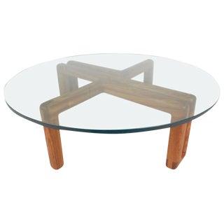 Mid-Century Modern Round Glass Coffee Table