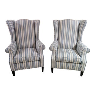 Transitional Striped Wingback Chairs - A Pair