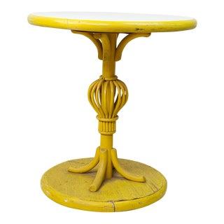 Yellow Wicker Side Table