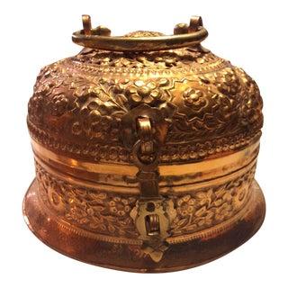 Antique Copper Repousse Paan Dan Box