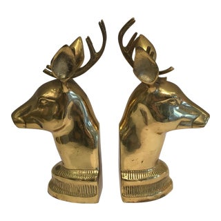 Vintage Brass Deer Head Bookends - A Pair