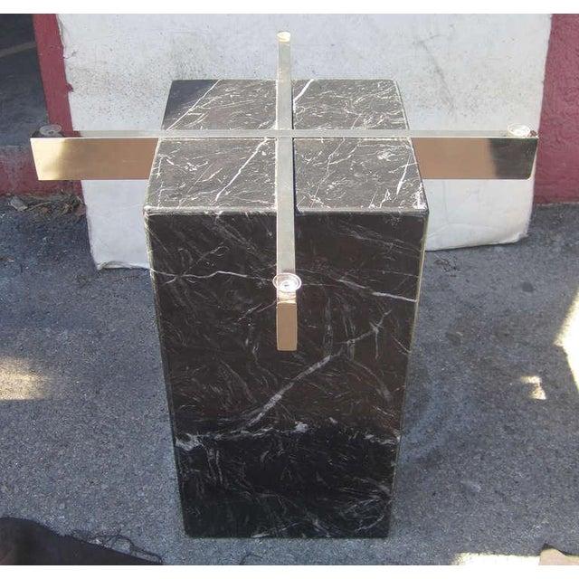 Artedi Italian Marble Pedestal Side Tables - Pair - Image 5 of 7