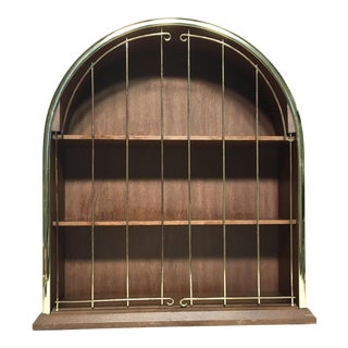 Vintage Wood & Brass Birdcage Shelf