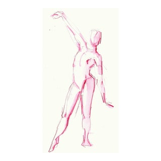 Original Pink Dance Reach Watercolor Painting