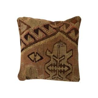 Large Tan & Brown Vintage Turkish Kilim Pillow