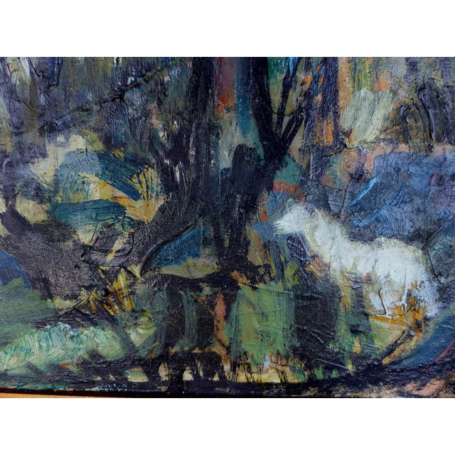 """""""Village With Pond"""" Abstract Oil Painting - Image 4 of 10"""