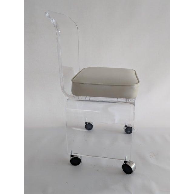 Lucite Vanity Swivel Stool / Chair - Image 4 of 8