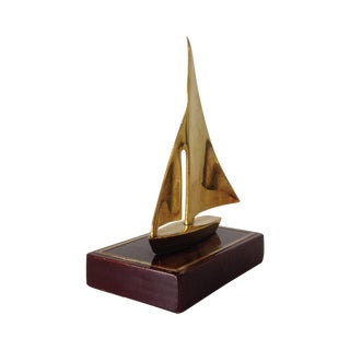 Brass Sailboat Accent Bookend - A Pair