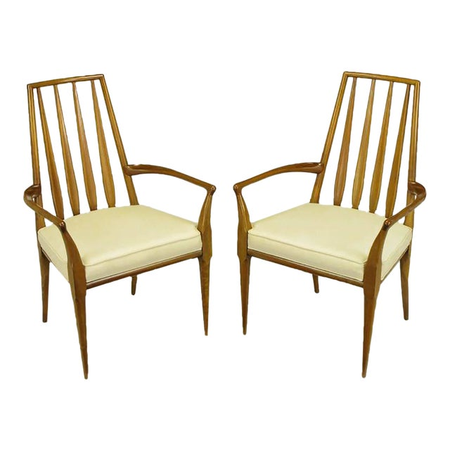Pair of Bert England Sculpted Walnut and Off-White Linen Slatback Armchairs - Image 1 of 7