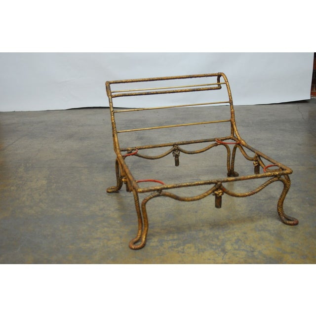 Napoleon III Gilt Rope Slipper Chair - Image 6 of 6
