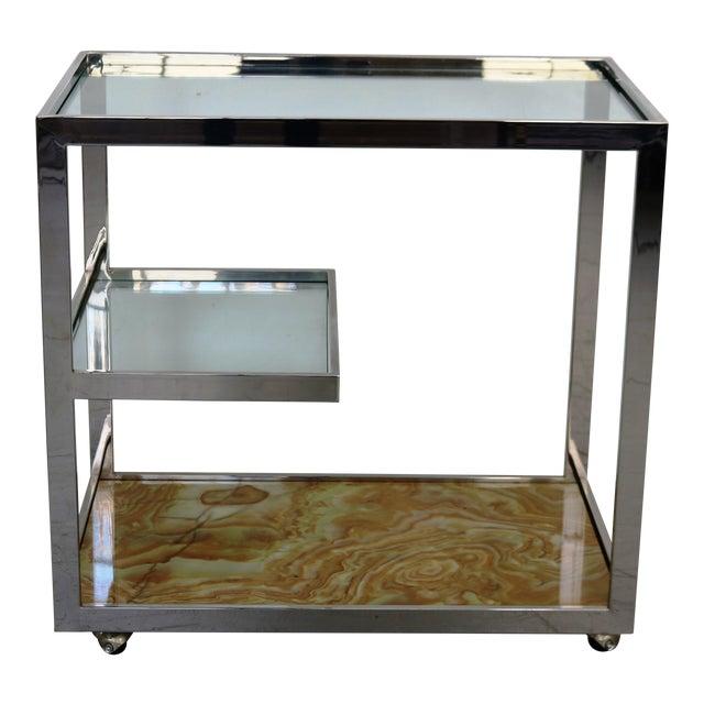 Mid-Century Chrome Glass & Onyx Bar Cart - Image 1 of 8