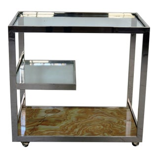 Mid-Century Chrome Glass & Onyx Bar Cart