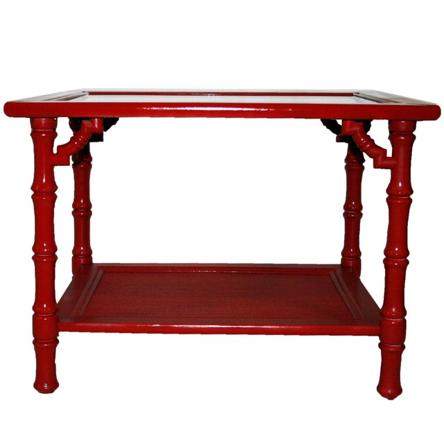 Mersman Faux Bamboo Red End Tables - A Pair - Image 4 of 7