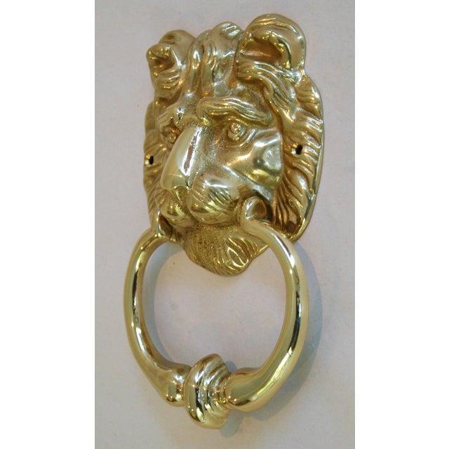 Vintage Brass Lion Door Knocker with Strike Button - Image 3 of 3