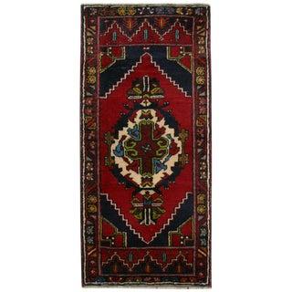 Vibrant Color Vintage Yastik | 1'10 x 4' Turkish Carpet
