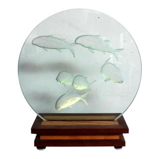 Koi Etched Glass Night Light On Wood Stand