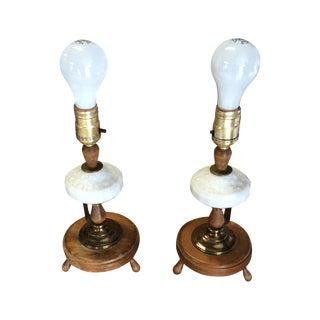 Classic Brass & Milk-Glass Nightstand Lamps - Pair