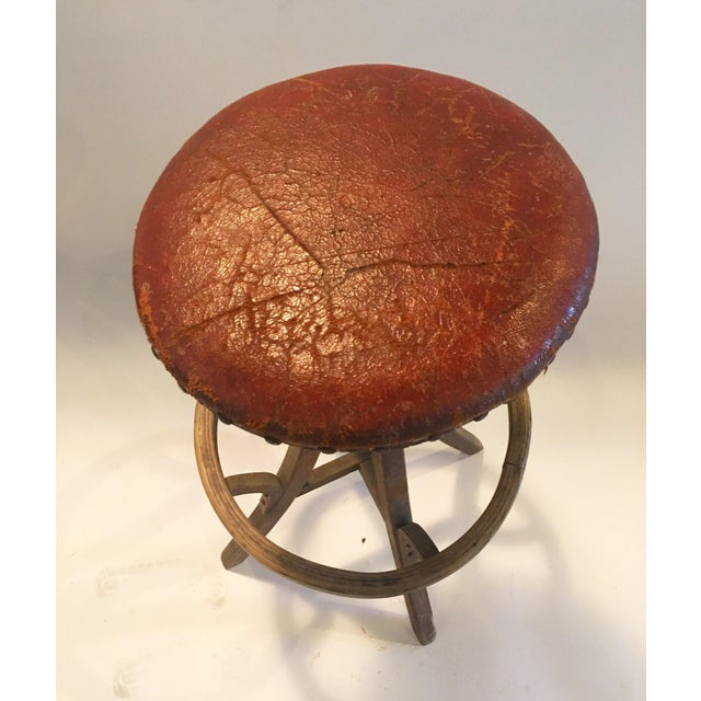 Vintage Industrial Leather Swivel Stool - Image 3 of 6