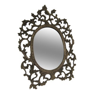 Brass Scroll Vanity Mirror