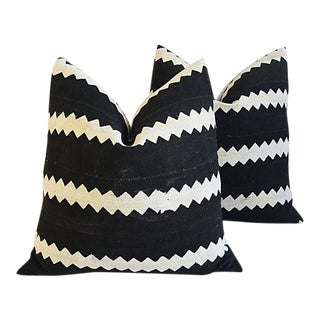 "22"" Custom African Tribal Mud Cloth & Linen Feather/Down Pillows - Pair"