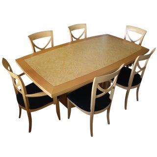 7-Piece Italian Excelsior Burl Maple Dining Set