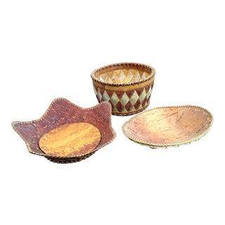 Kobuk River Woven Birch Bark Baskets - Set of 3