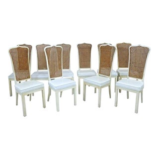 White Lacquer Caned Dining Chairs - Set of 10