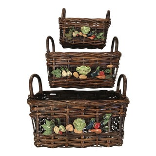Mid-Century Modern Nesting Vegetable Baskets -Set of Three