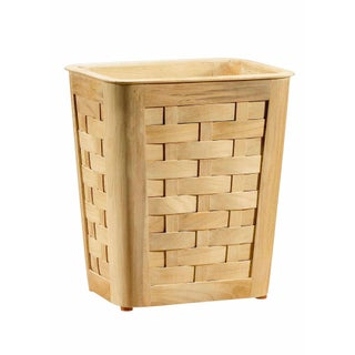 Selamat Designs Woven Teak Wastebasket with Insert