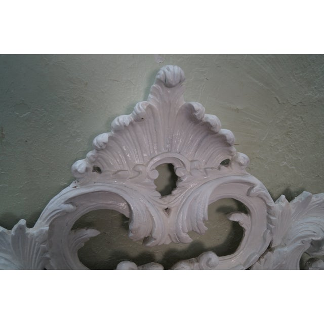 Vintage Rococo Painted Carved Wood Queen Headboard - Image 9 of 10