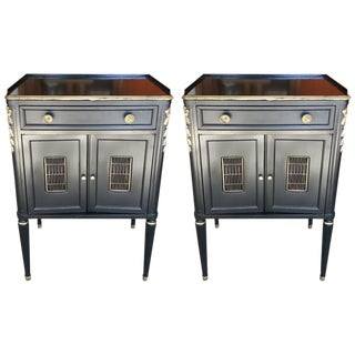 John Widdicomb Ebonized Night Tables - A Pair