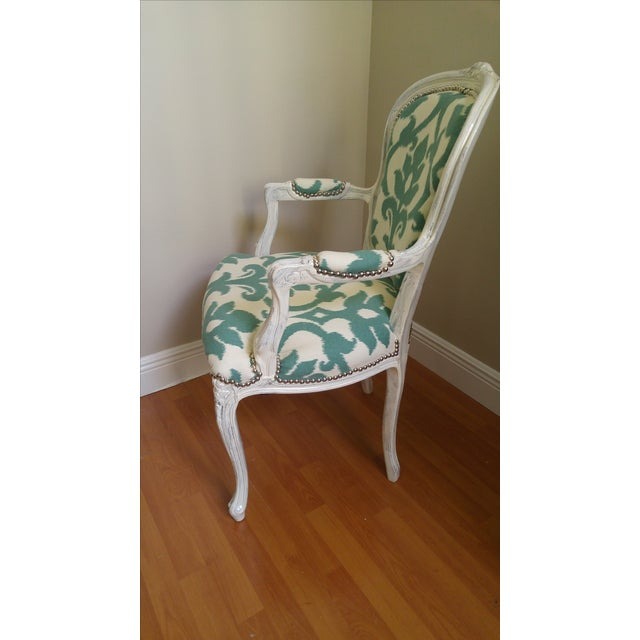 Vintage Victorian Ikat Print Arm Chair - Image 3 of 5