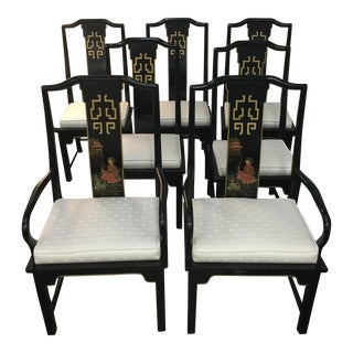 Century Asian Style Dining Room Chairs - Set of 5